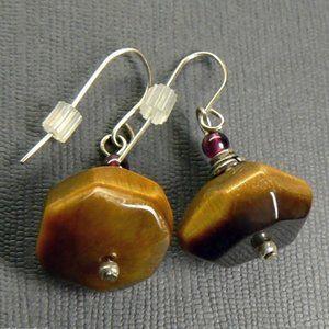 Tigers eye Garnet Sterling silver drop Earrings